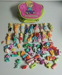 LOT-OF-18-POLLY-POCKET-DOLLS-RUBBER-CLOTHING-OUTFITS-CLOTHES-BAG