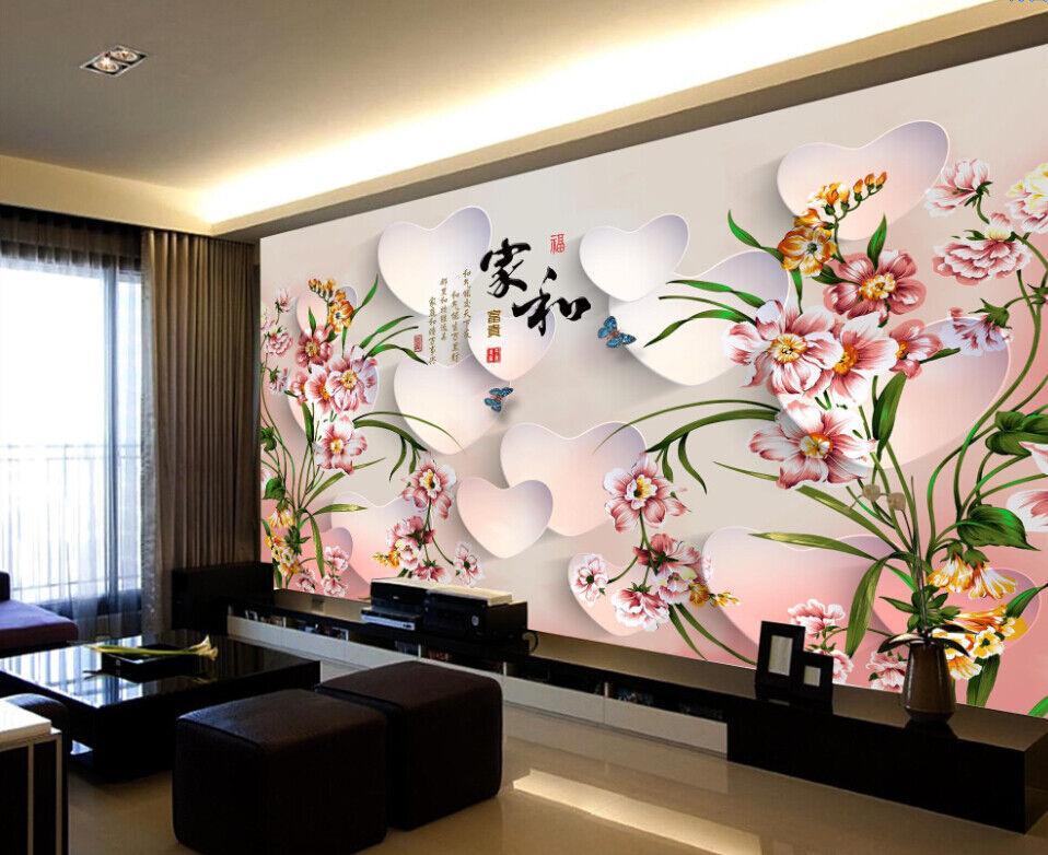 3D Herzförmige Blüten 68 Tapete Tapeten Mauer Foto Familie Tapete Wandgemälde DE