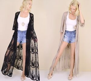 ba060b1a915 Details about Women's Embroidered Sheer Lace Kimono Sleeve Long Duster  Cardigan Maxi Black
