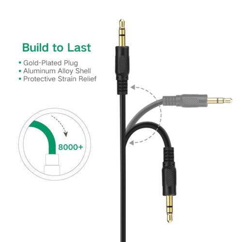 Geninue Copper Shell 3.5mm Male Stereo AUX Cable//AUX Cord-3FT 6FT 12FT 10-Pack