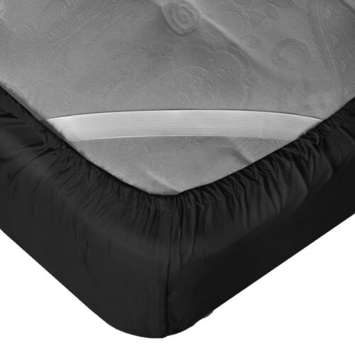 "King 21"" Extra Deep Pocket Ultra Soft Fitted Sheet with Corner Straps Black"