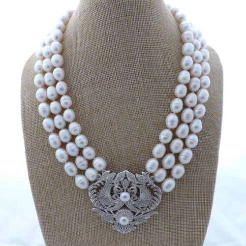 """18/"""" 3 Strands Cultured White Pearl Necklace CZ Pave Pendant"""