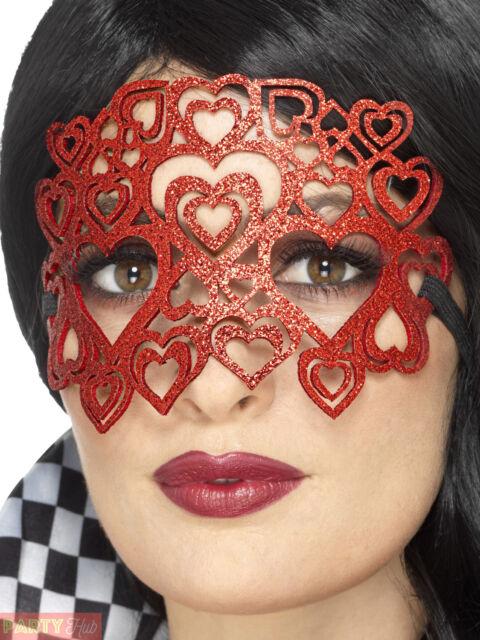 Ladies Glitter Heart Eye Mask Adults Queen of Hearts Fancy Dress Accessory