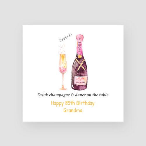 Personalised Handmade 85th Birthday Card Vintage Champagne Grandma Mum Friend