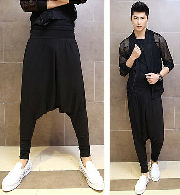 New Mens Special Drop Crotch Cool Casual Street Dancing Harem Pants Black Unisex