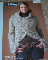 Patons Baroque Knitting Pattern Lady's Hooded Jacket