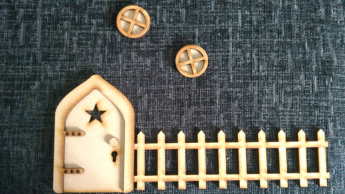 MDF Fairy Door Kits Complete With Gate and Windows Ready to Decorate