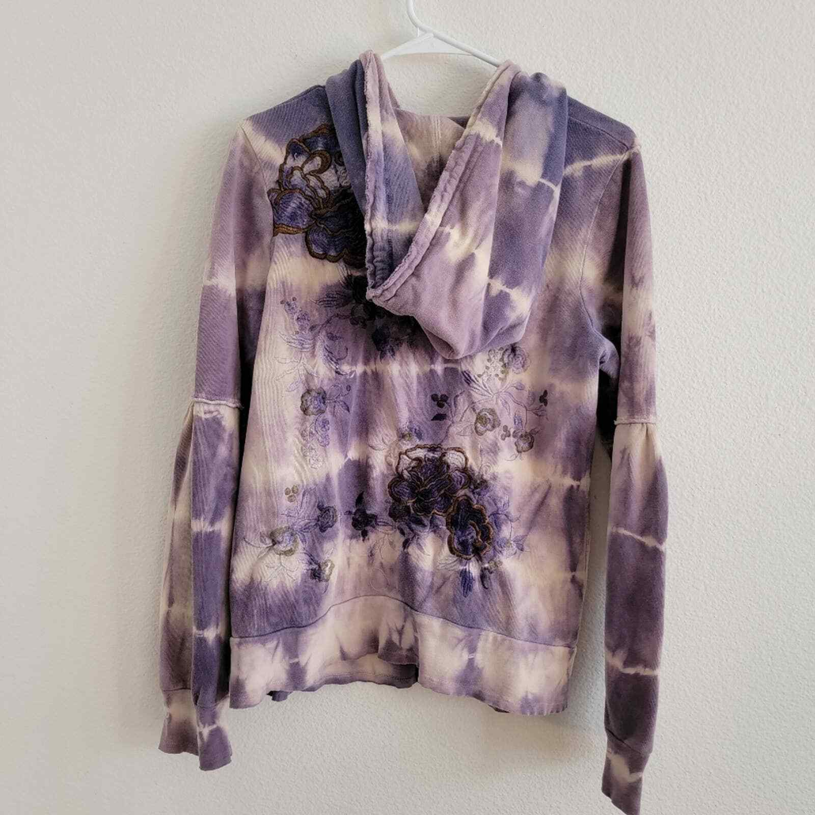 Penelope Violet Tie-Dye Embroidered Zip Up Sweater - image 9