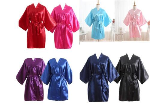 Hot Women robe Silk Satin Robes Wedding Bridesmaid Bride Gown kimono Solid robe.