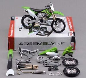 1-12-Assemble-Kawasaki-KX-450F-Model-Green-DIY-Motorcycle-Bike-Toys-Maisto