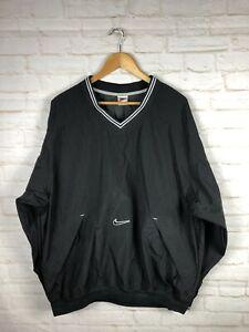 Nike-Pullover-Windbreaker-Jacket-Swoosh-Vintage-Black-White-Size-XL