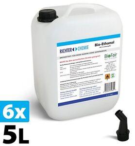 BioFair® Ethanol 100% - 30 Liter - 6 x 5 l - Bioethanol Bio-Ethanol Bio-Alkohol