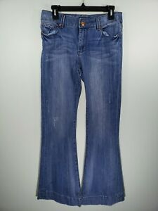 Womens-Size-4-Seven7-Blue-Denim-Sexy-Flare-Bootcut-Stretchy-Jeans-Pants-Washed