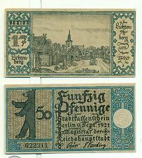 OLD GERMANY EMERGENCY PAPER MONEY - NOTGELD Berlin 1921 50 Pf Townships 17