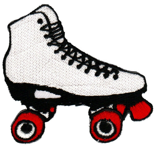 ab56 Rollschuh Weiß Roller Skate Retro Aufnäher Bügelbild Flicken 7,5 x 7,5 cm