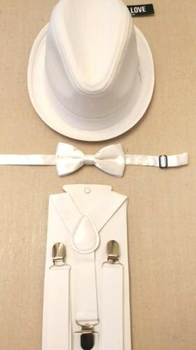 "Born to Love Boy/'s White Fedora Hat White Satin Bow Tie White 25/"" Suspenders"