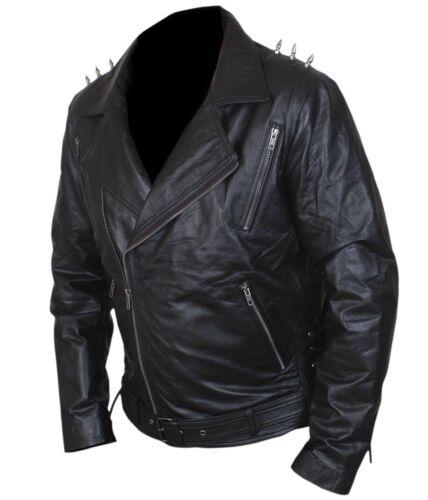 Ghost Rider Nicholas Cage Motorcycle Mororbike Biker Jacket with Metal Spikes