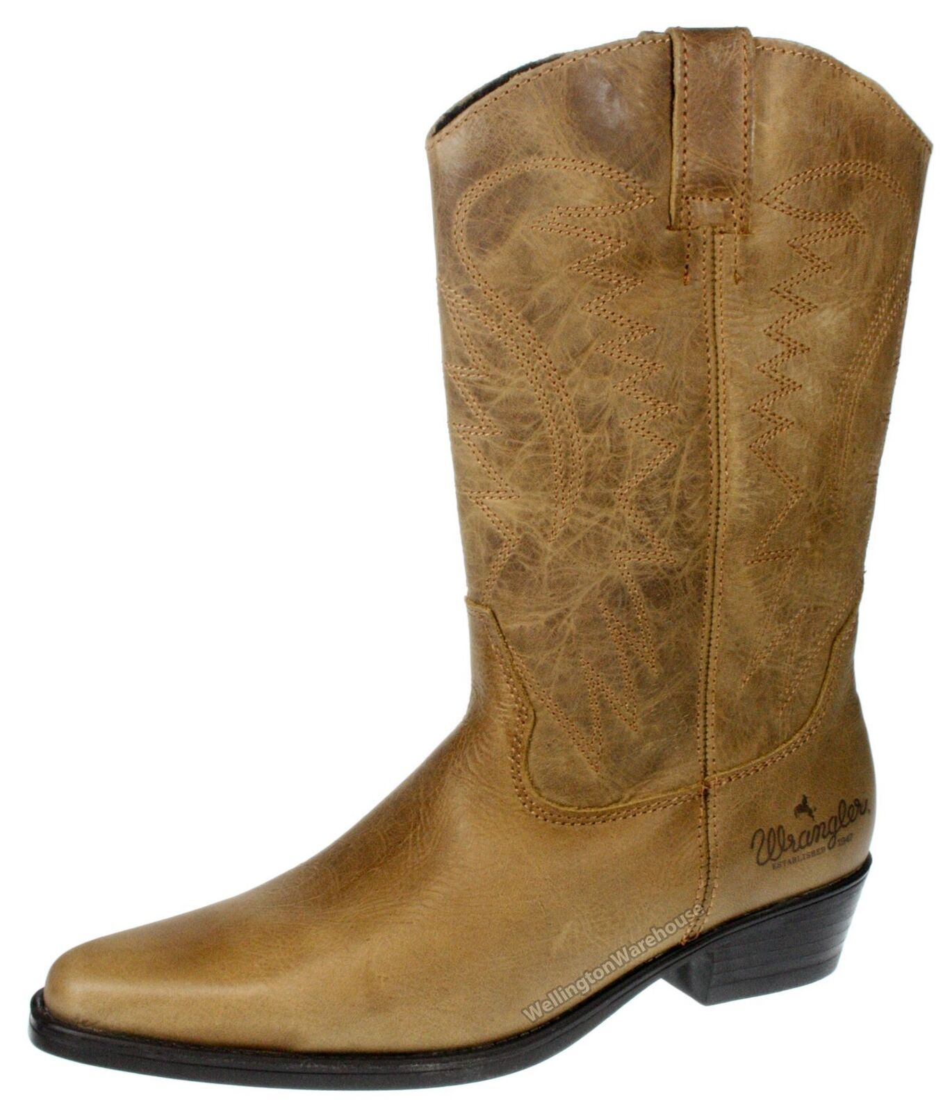 Wrangler Tex Hi Mens Brown Pull On Chelsea Boots Cowboy Weston Leather