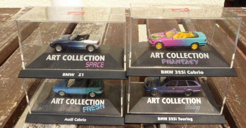 Herpa Art Colección 3x BMW 525i Touring 3er Cabrio 1x AUDI A 3 Cabrio Limitado
