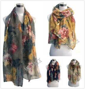 Women-Ladies-Long-Vintage-Rose-Flower-Print-Pattern-Shawl-Scarf-Warp-Stole