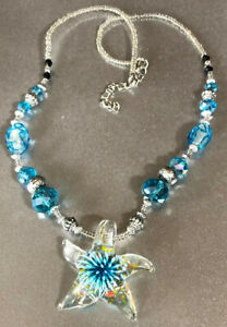 Textured-Silver-Tone-amp-Blue-Crystal-Art-Bead-Murano-Glass-Sea-Star-Necklace-19