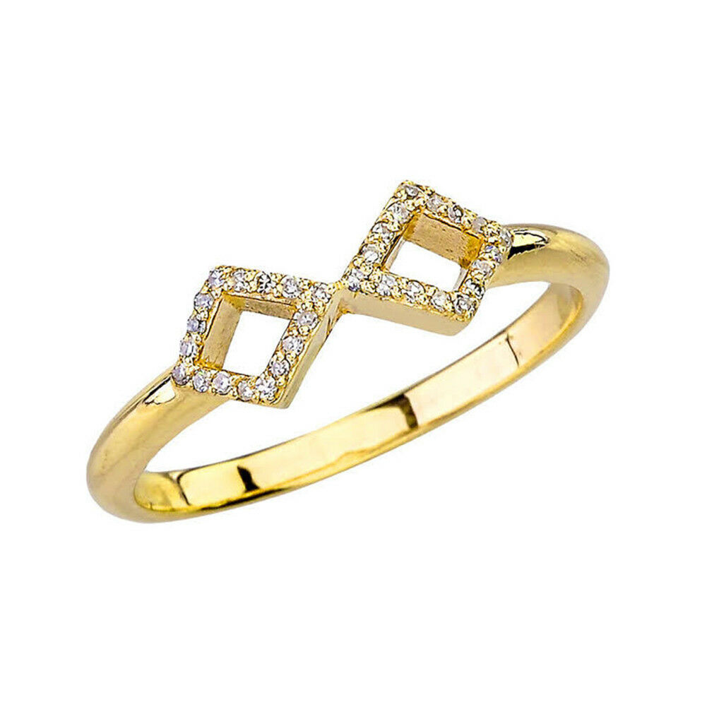 0.08 CTW Dainty Mirrored Open Diamond Ring in Yellow gold