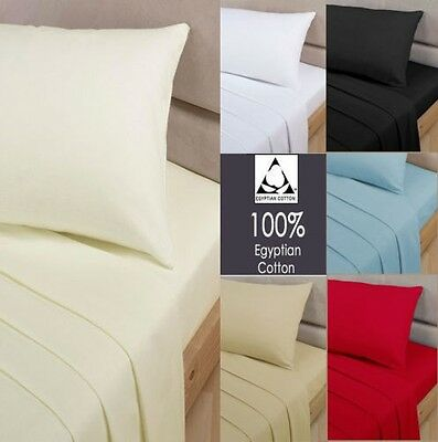 100/% EGYPTIAN COTTON FITTED SHEETS SINGLE 4FT SMALL DOUBLE KING SUPER KING SIZE