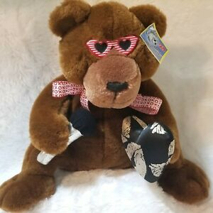 Vintage-Singing-Moving-Bear-Love-Me-Tender-Plush-Stuffed-Microphone-Sunglasses