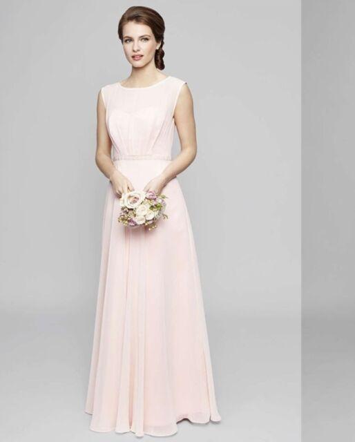 Bnwt 18 20 Peach Bhs Primrose Yolk Top Chiffon Long Bridesmaid Dress 95