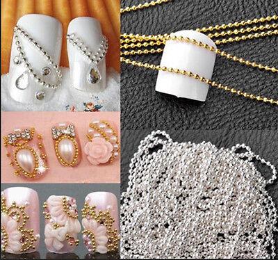 Novelty 1M Nail Art Tip Metal Glitter Striping Tape Ball Beads Chain Line 3D GT