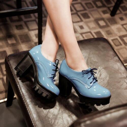 Frauen runde sich Freizeitschuhe Heel schnüren Zehe High Lackleder Plattform Block oben rrd8qwx