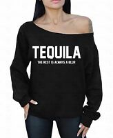 Tequila White Logo Off The Shoulder Oversized Slouchy Sweater Sweatshirt