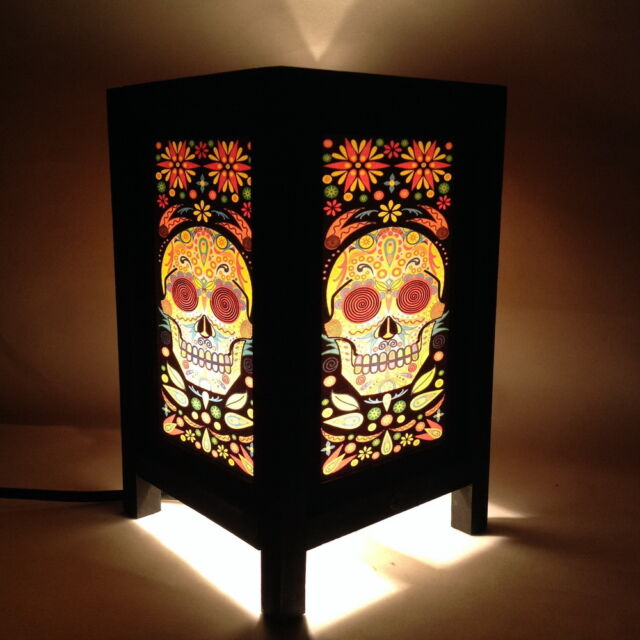 Art Deco Desk Table Lamp Colorful Skull Printing Light Lantern Bedside Lamps
