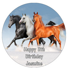 """Horses 7.5"""" Personalised Cake Topper Edible Wafer Paper"""