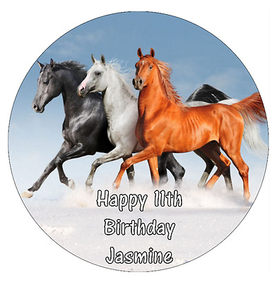 12 edible cupcake toppers Rice wafer or Icing Sheet.03 Horse Personalised 7.5 inch Round Cake Topper