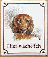 Dackel Braun Hunde Hund Email Emaille Schild Warnschild Hier Wache Ich