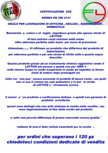 GUANTI DA LAVORO ANTISCIVOLO ANTITAGLIO  IN LATTICE  12  PAIA  MISURA 11