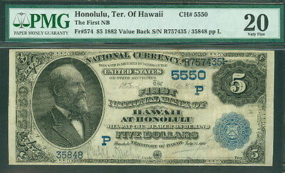 #574 National Bank Note First Nb Hawaii Terr 1882 Pcgs Grade 20vf Nourishing Blood And Adjusting Spirit Fr