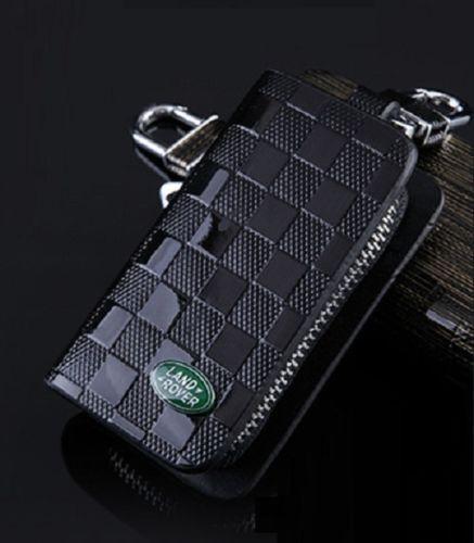 Leather Car logo Keyfob KeyChain Key Case wallet bag Remote Control Case Black