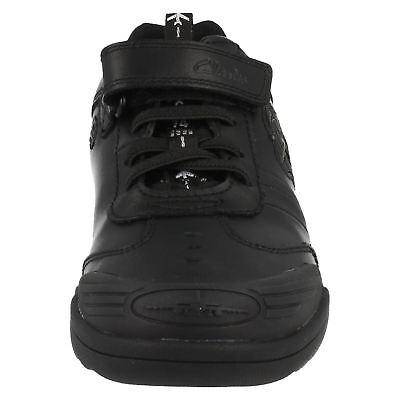 OFERTA Niños Clarks Negro Revestido Leather Wing Lite Zapato G Ajuste