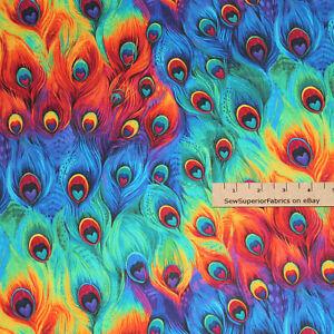 Rainbow Mult Plume Peacock Feathers Cotton Fabric  1/2 Yard   #C8414