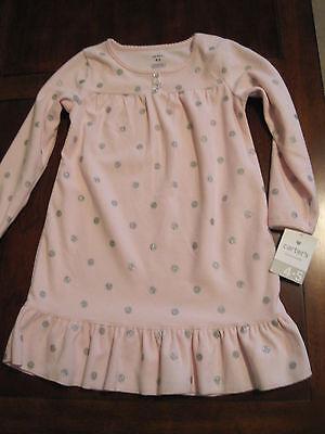 New NWT Carter Girl Pink Glitter Silver Polka Dot Fleece Nightgown Gown 4-5 Twin