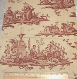 Antique-French-19thC-Personage-Toile-amp-Country-Motif-Linen-Fabric-L-22-034-X-W-14-034
