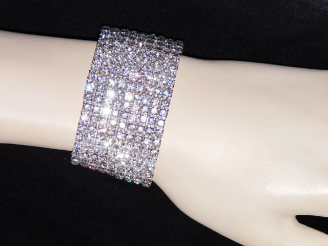 Awesome 9 Row Bridal Silver Rhinestone Crystal Stretch Bracelets Bangle