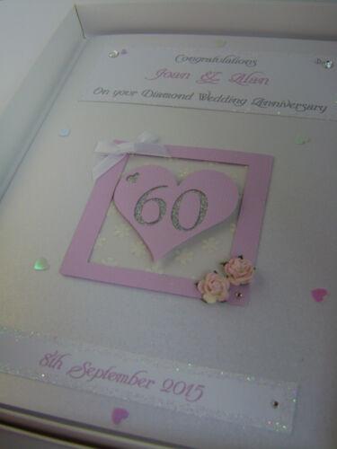 Swarovski crystals boxed Personalised Diamond 60th Wedding Anniversary Card