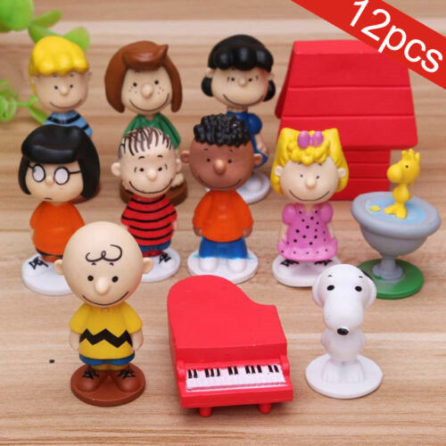 Snoopy 12pcs Peanuts Charlie Brown Lucy Franklin Figure Figurine Cake Topper Toy