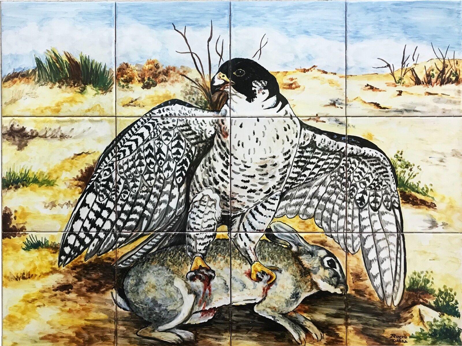 Mural Hand Painted Peregrine falcon attacks rabbit 12 tiles Spanish ceramic
