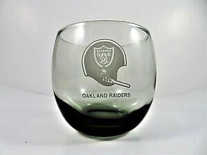 Oakland-Raiders-Vintage-1970s-Smoked-Beverage-Glass-NFL-Round-Rocks-Cocktail