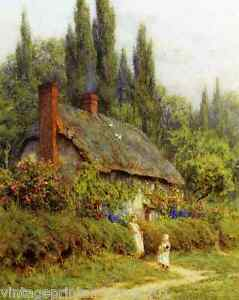 Old English Country Cottage by Helen Allingham - Children Flower 8x10 Print 0096