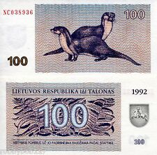 LITHUANIA 100 Talon Banknote World Money Currency BILL p42 Otters Europe Note